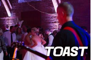 Band's eye view at Thoresby Courtyard Wedding